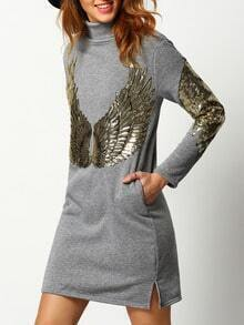 Grey Turtleneck Sequined Wing Pattern Sweatshirt Dress