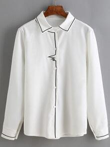 White Embroidered Slim Blouse
