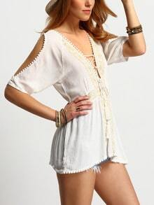 White Deep V Neck Embroidered Lace Up Blouse
