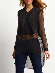 Black V Neck High Low Embroidered Combo Top