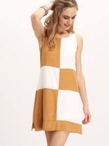 White Plaid Sleeveless Shift Dress