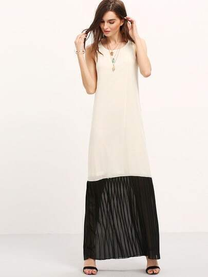Apricot Sleeveless Contrast Hem Maxi Dress
