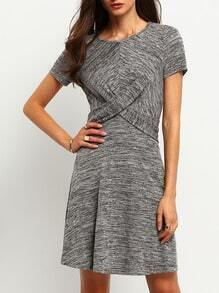 Grey Criss Cross Front A Line Dress