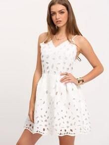 White Spaghetti Strap Ripped Scallop Pouf Dress