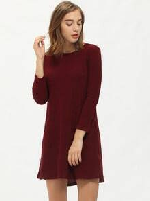 Burgundy Crew Neck Ribbed Shift Dress