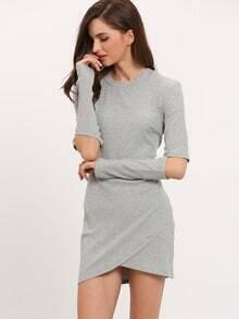 Grey Cut Out Sleeve Bodycon Dress