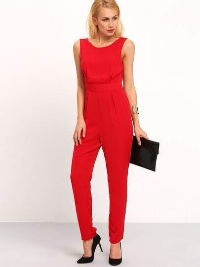 Red Sleeveless V Back With Lace Jumpsuit