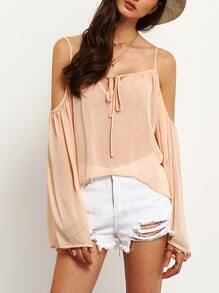 Pink Spaghetti Strap Bell Sleeve Cold Shoulder Blouse