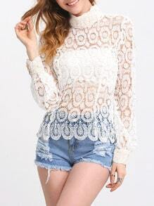 White Mock Neck Hollow Blouse