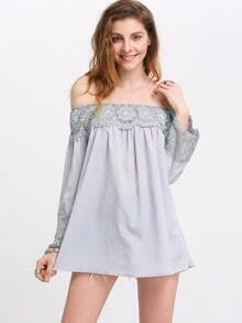 Blue Off The Shoulder Crochet Blouse