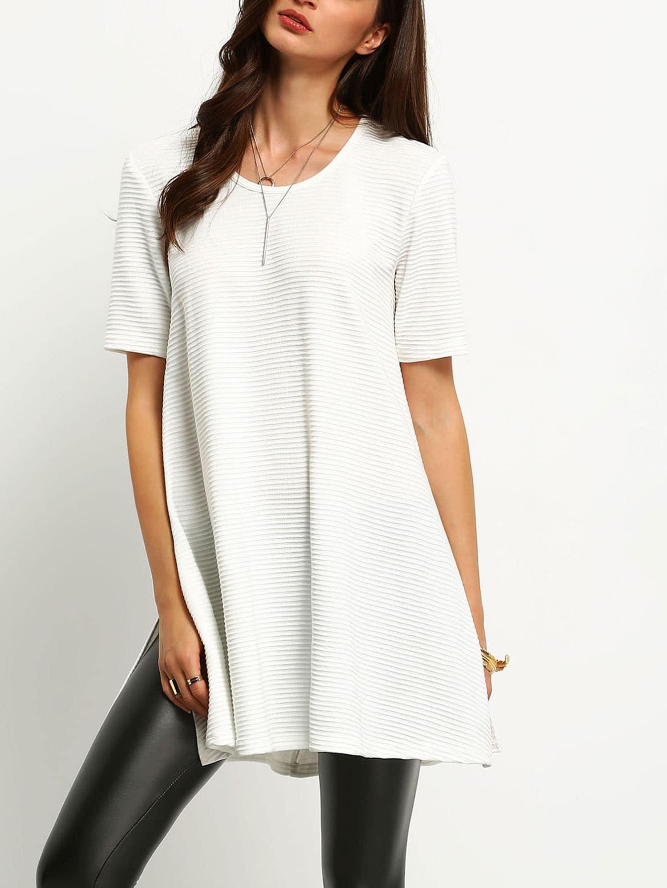 White Ribbed Side Slit T-Shirt tee160113701