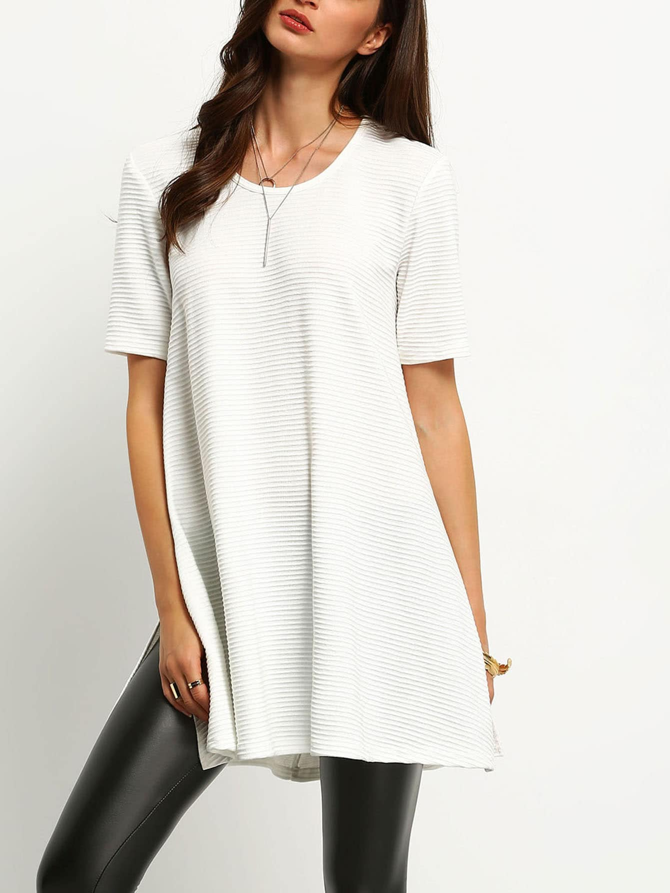 Ribbed Side Slit T-Shirt tee160113701