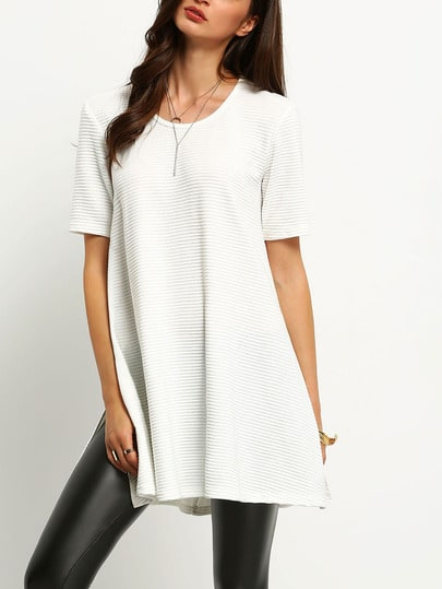 Ribbed Side Slit T-Shirt