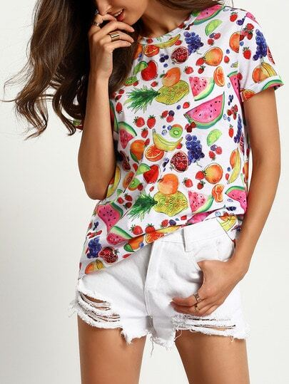 Rolled Sleeve Fruits Print T-Shirt