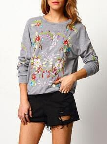 Grey Crew Neck Embroidered Sweatshirt