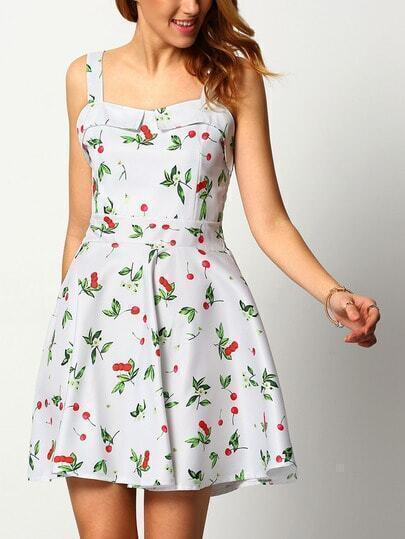 White Spaghetti Strap Cherry Print Dress
