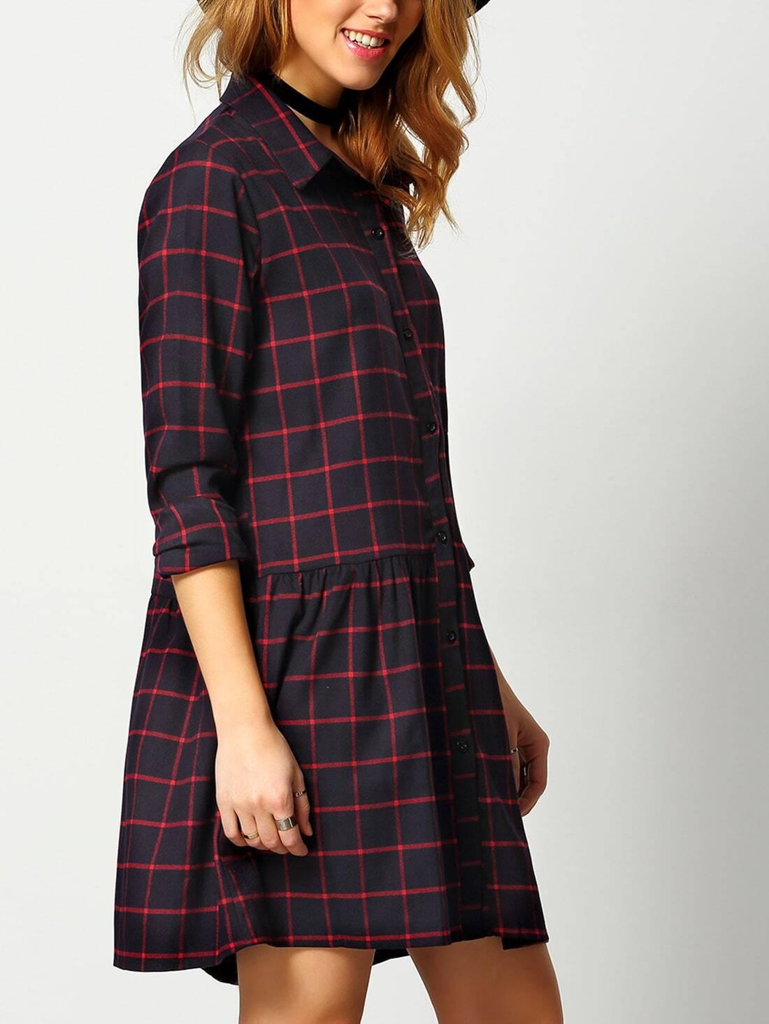Black red long sleeve plaid shirt dress shein sheinside for Red plaid dress shirt