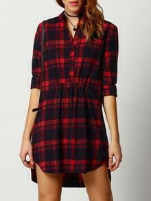 Red Black Stand Collar Plaid Shirt Dress