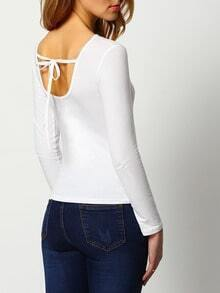 White Long Sleeve Lace Up Slim T-Shirt