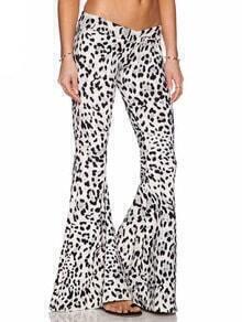 Black White Leopard Slim Bell Pant