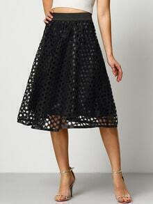 Black Hollow Grid A Line Skirt
