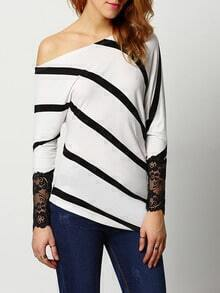 White Boat Neck Striped Lace Blouse