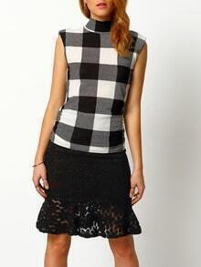 Black White High Neck Plaid Slim Blouse