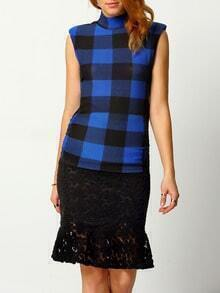 Blue Black High Neck Plaid Slim Blouse