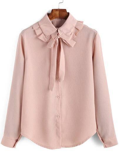 Pink Bow Collar Ruched Loose Blouse