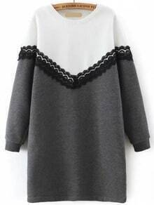 Colour-block Round Neck Lace Sweatshirt Dress