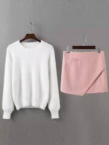 White Crew Neck Lantern Sleeve Knitwear With Pink Skirt