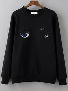Black Crew Neck Sequined Eye Embroidered Sweatshirt