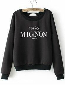Black Round Neck Letters Print Crop Sweatshirt