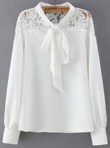 White Tie Collar Lace Loose Blouse