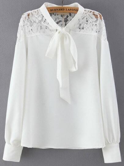 Blouse col cravate avec dentelle ajouré -blanc