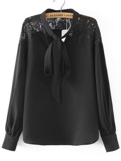 Black Tie Collar Lace Loose Blouse