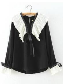 Black Bell Sleeve Ruched Loose Blouse