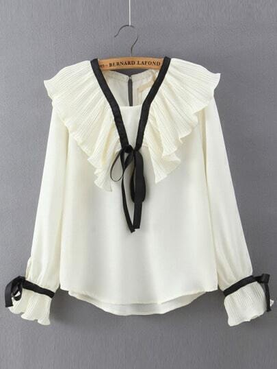 White Bell Sleeve Ruched Loose Blouse