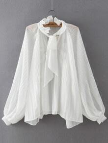 White Knotted Collar Ruched Loose Blouse