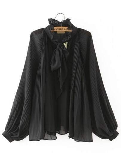 Black Knotted Collar Ruched Loose Blouse