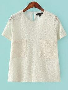 Beige Short Sleeve Lace Pockets Blouse