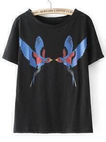 Black Short Sleeve Birds Print T-Shirt