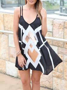 Black Deep V-neck Sequined Spaghetti Strap Dress