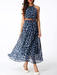 Blue Leopard Print Halter Maxi Dress With Belt