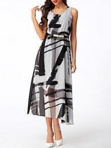 Black Ink Print Bohemian Long Dress With Belt