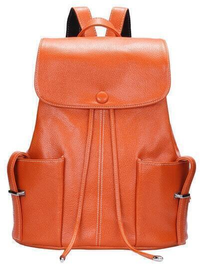 Orange Drawstring Magnetic Pocket Backpack
