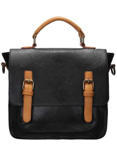 Black Color Block Magnetic Buckle Tote Bag