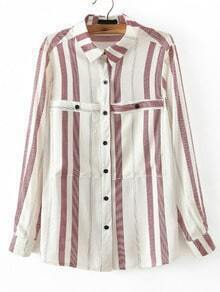 White Red Vertical Stripe Pockets Blouse