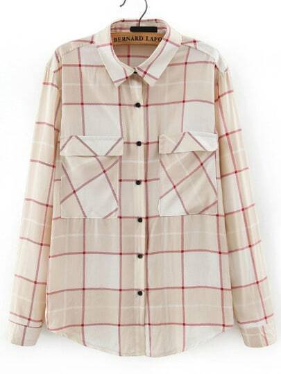 Apricot Lapel Long Sleeve Plaid Blouse