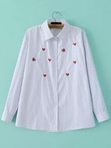 Blue White Vertical Stripe Heart Embroidered Blouse